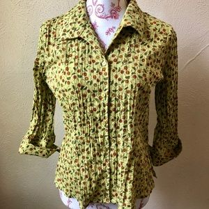 Christopher & Banks Button Down Blouse S Avocado